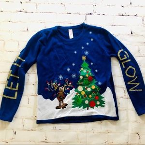Holiday Time blue light up Rudolph sweater Large